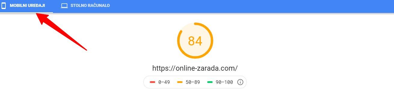 brzina stranice za mobilne uređaje