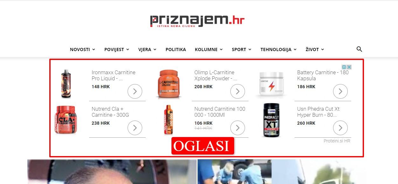 prikaz reklame na blogu