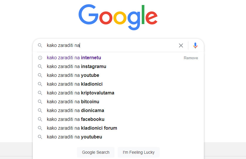 google pretraživanje, istraživanje ključnih riječi i tema